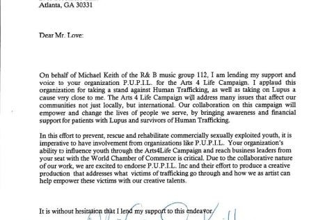 Michael Keith of the group 112 endorsement letter